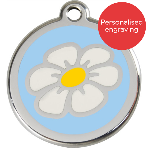 Red Dingo Cat ID Tag Stainless Steel & Enamel Daisy Light Blue