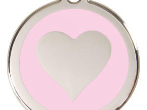 Red Dingo Cat ID Tag Stainless Steel & Enamel Heart Pink