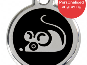 Red Dingo Cat ID Tag Stainless Steel & Enamel Mouse Black