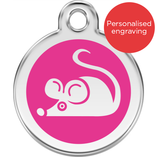 Red Dingo Cat ID Tag Stainless Steel & Enamel Mouse Pink