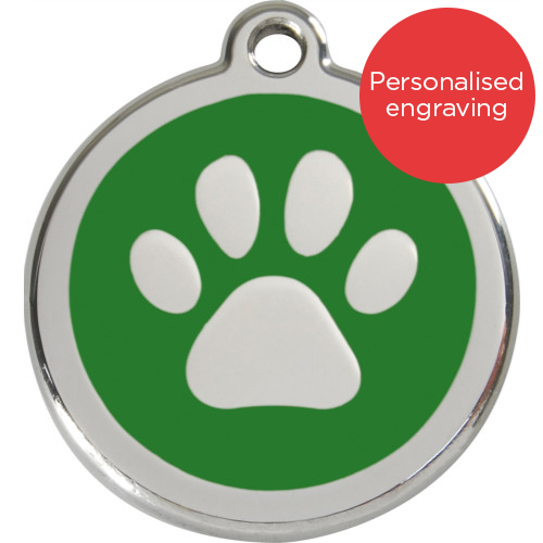 Red Dingo Cat ID Tag Stainless Steel & Enamel Paw Print Green