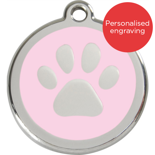 Red Dingo Cat ID Tag Stainless Steel & Enamel Paw Print Pink