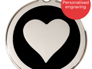 Red Dingo Dog ID Tag Stainless Steel & Enamel Heart Black