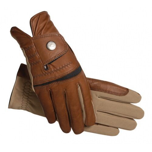 SSG Hybrid Riding Gloves in Brown & Tan Size 8