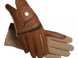 SSG Hybrid Riding Gloves in Brown & Tan Size 9