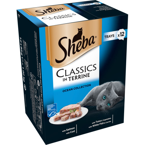 Sheba Classics Ocean Collection in Terrine Adult Cat Food Trays 85g x 12
