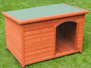 Small Woody Flat-Roofed Dog Kennel 85x57x58cm (LxWxH)