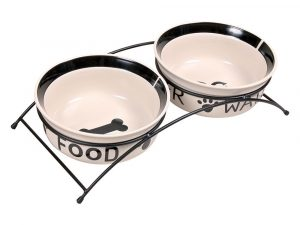 Trixie Eat on Feet Ceramic Dog Bowl Set with Stand 2x0.6l