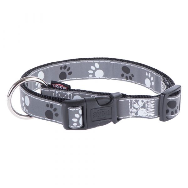 Trixie Reflective Paws Dog Collar Silver Size S-M