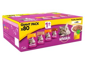 WHISKAS Bulk Saver Packs Wet Cat Food Adult 1+ Poultry Selection in Jelly 100g x 80