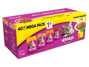 Whiskas 1+ Poultry Selection in Jelly Adult Cat Food Pouches 100g x 40