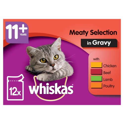 Whiskas 11+ Meaty Selection in Gravy Senior Cat Food Pouches 100g x 12