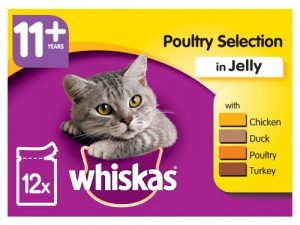 Whiskas 11+ Poultry Selection in Jelly Senior Cat Food Pouches 100g x 12