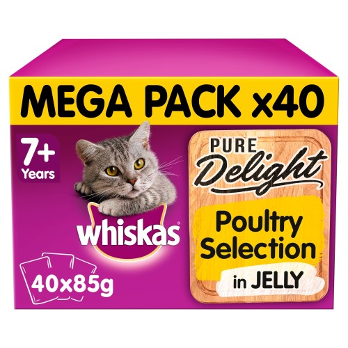 Whiskas 7+ Pure Delight Poultry Selection Wet Cat Food Pouches 85g x 40