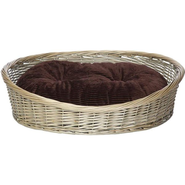 Wicker Basket and Chester Oval Fleece Dog Bed Brown/Large