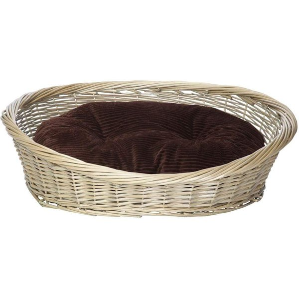 Wicker Basket and Chester Oval Fleece Dog Bed Brown/Small