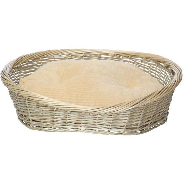 Wicker Basket and Chester Oval Fleece Dog Bed Cream/Small